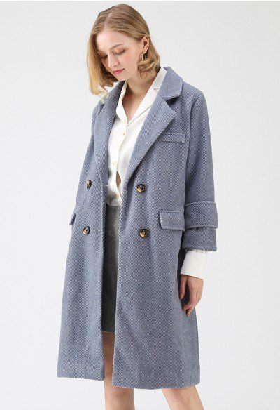 61f7a7ffb95d Warm Your Closet Double-Breasted Wool-Blend Coat in Dusty Blue ...
