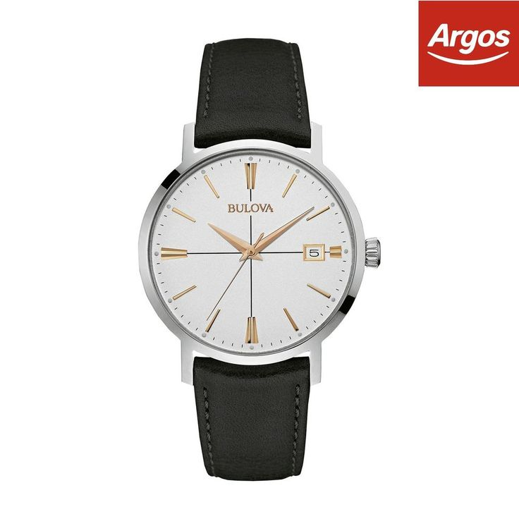 €64 Bulova Men s White Dial Black Leather Strap Watch -From the Argos Shop on ebay