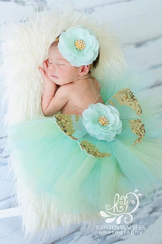 baby girls newborn photo prop tutu butterfly wings headband aqua and gold ready to ship complete set. $35.00, via Etsy.