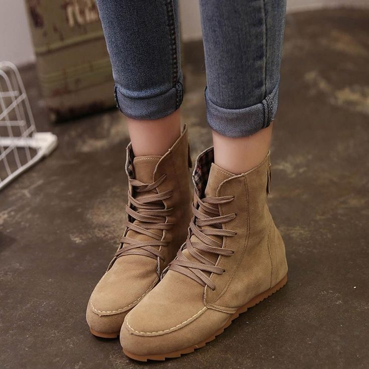 Women Flat Ankle Snow Motorcycle Boots Female Suede Leather Lace-Up Boot  #love #fashion #stylish #fashiondaily #dailyfashion #stores #girls #dailystyle #youngbabes #KekePalmer