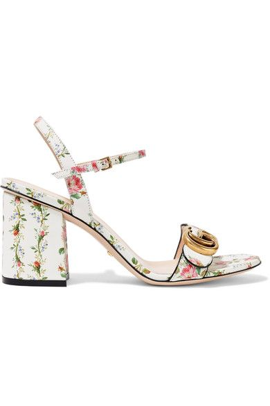 Gucci - Floral-print Leather Sandals - White - IT38.5