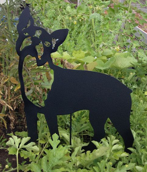 Boston Terrier Garden Stake or Wall Hanging by RusticaOrnamentals