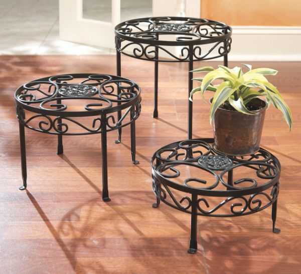 Iron Plant Stand with Scroll Top Risers