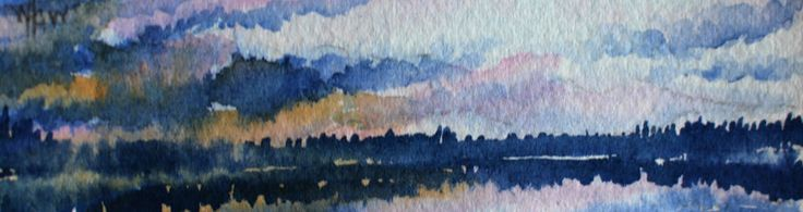 "Nightfall at Paradise Lake. A Series of Miniatures Number 11 A Glimpse into my World 1.25"" X 4"", Watercolour, Matted"