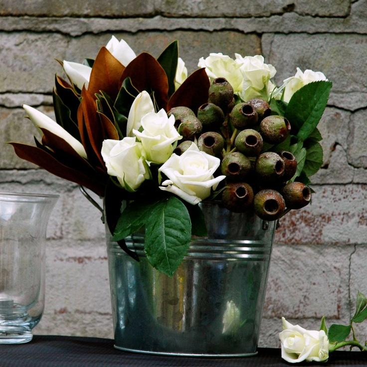 Roses, gum nuts & magnolia leaves