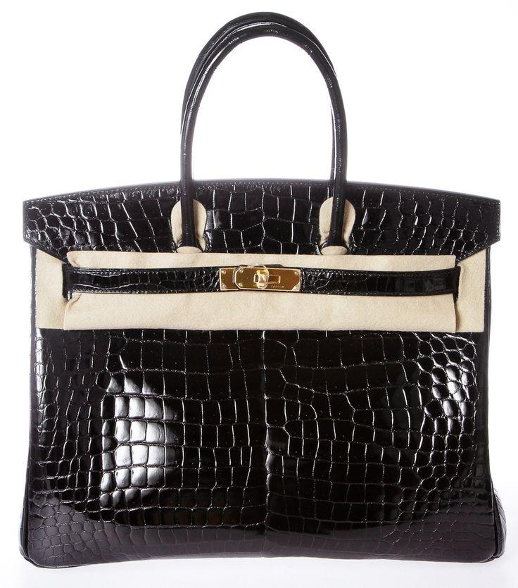 Hermes Birkin Noir (Black) 35cm Porosus Crocodile Handbag GHW NEW ...