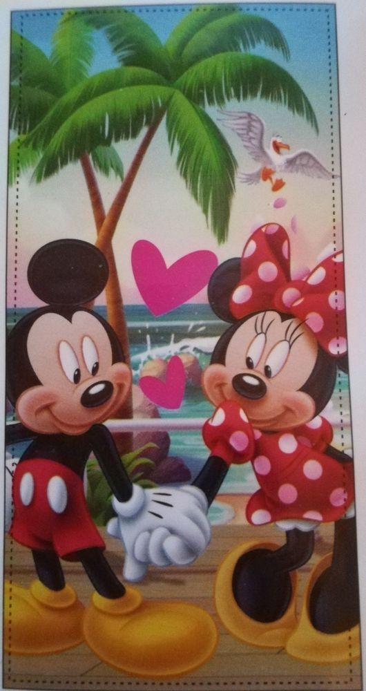 Copriletto Matrimoniale Topolino E Minnie.Dettagli Su Telo Mare Disney Minnie Mickey Mouse 70x140 Piscina
