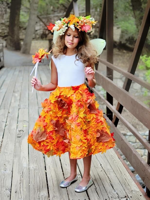 DIYNetwork.com created an exquisite wrap skirt decorated with fall foliage for the little sprite in your life with this DIY tutorial. For the finished Woodland Fairy costume, pair with a simple white shirt, wings and colorful crown. It's the perfect look for Halloween.