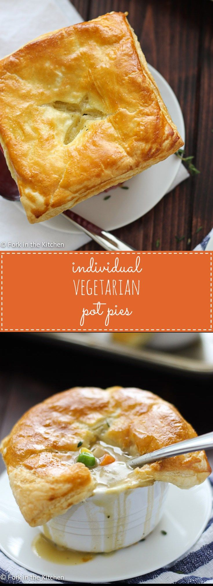 Individual Vegetarian Pot Pies are full of all the veggies you love in pot pies - potatoes, peas, carrots, corn - and plenty of soul-warming herbs, making them perfect for a comforting meal.
