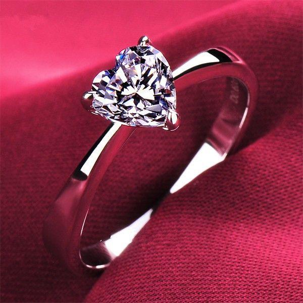 Прекрасный Дизайн Чистая 18 К Белое Золото Au750 Кольцо 1CT Сердца форма Женщины Обручальное Кольцо Из Белого Золота Прекрасный Подарок Ювелирные Изделия Для ее
