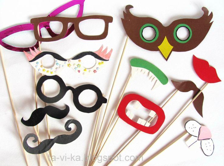 маски для вечеринки: усики, губки, очки