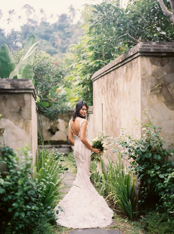 Gorgeous Bride in Paradise with a Couture Wedding Dress | Katie Grant Photography | http://heyweddinglady.com/destination-elopement-couture-wedding-dress-bali/