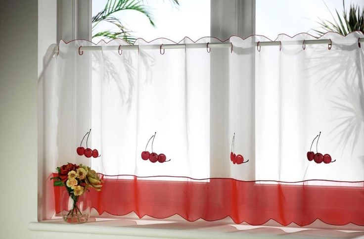 White Kitchen Curtains With Red Trim