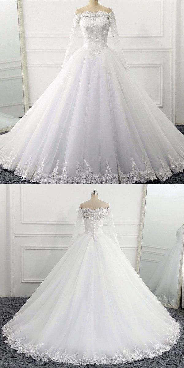 Off The Shoulder Wedding Dresses Ball Gowns Long Sleeves 2018 Vintage Bridal Gowns #beautydresses #weddinggowns
