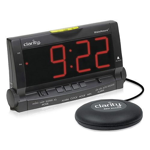 Clarity Ameriphone Wake Assure Amplified Alarm Clock With Bed Shaker 00600.000 New, Black