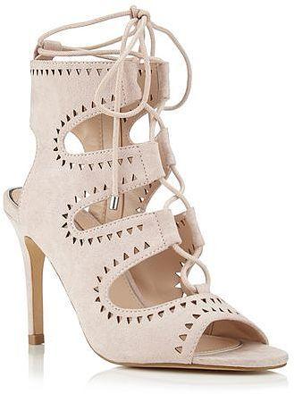 Womens blush sandy ghillie tie sandal from Miss Selfridge - £45 at ClothingByColour.com