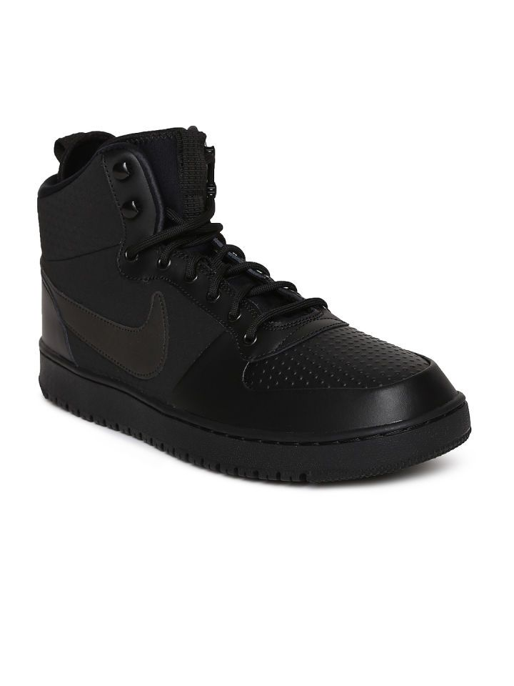timeless design 5416f a8536 Buy Nike Men Black Solid Leather COURT BOROUGH Mid Top ...
