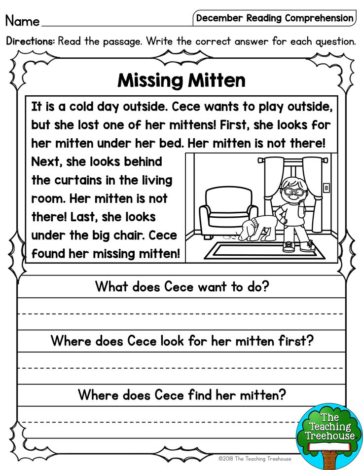December Reading Comprehension Passages for Kindergarten