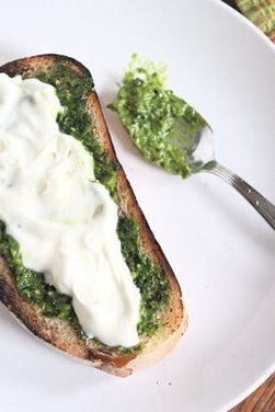 Grilled Bread with Thyme Pesto and Lemon Cream