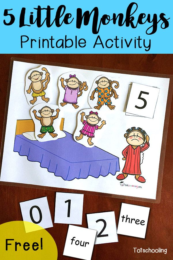 FREE 5 Little Monkeys activity for counting, learning numbers and number words. Great for toddlers, preschoolers and kindergartners to follow along with this classic nursery rhyme.