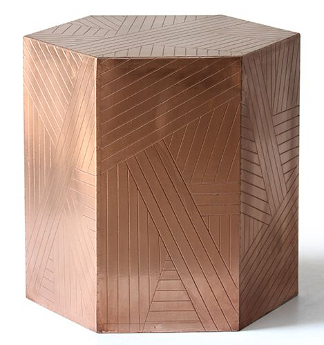 M :: Copper Hexagonal Side Table   Copper