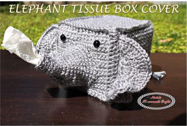 Elephant Tissue Box Cover - Free Crochet pattern By Nicki's Homemade Crafts #crochet #tissuebox #elephant