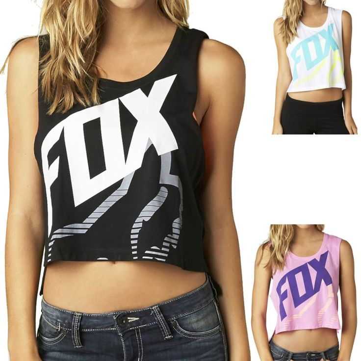 2015 Fox Racing Womens Summer Initiate Crop Muscle Casual Sleeveless Top Shirt