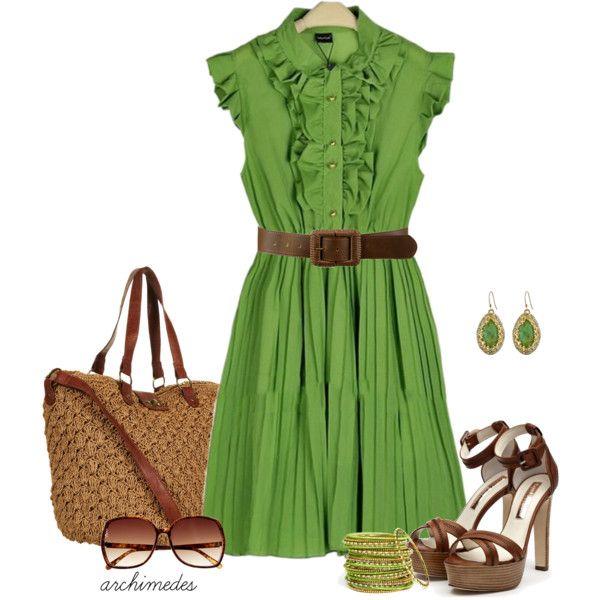 Green Ruffle Dress :): Favorite Dresses, Green Chiffon, Cute Outfits, Pleated Dresses, Greendress, Dresses Outfits, The Dresses, Chiffon Dresses, Green Dresses