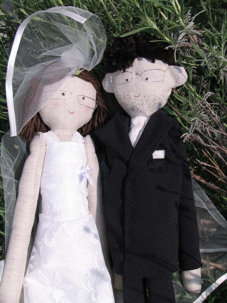 Wedding ragdolls, custom personalized ragdolls, bride and groom ragdolls, just married. $80.00, via Etsy.