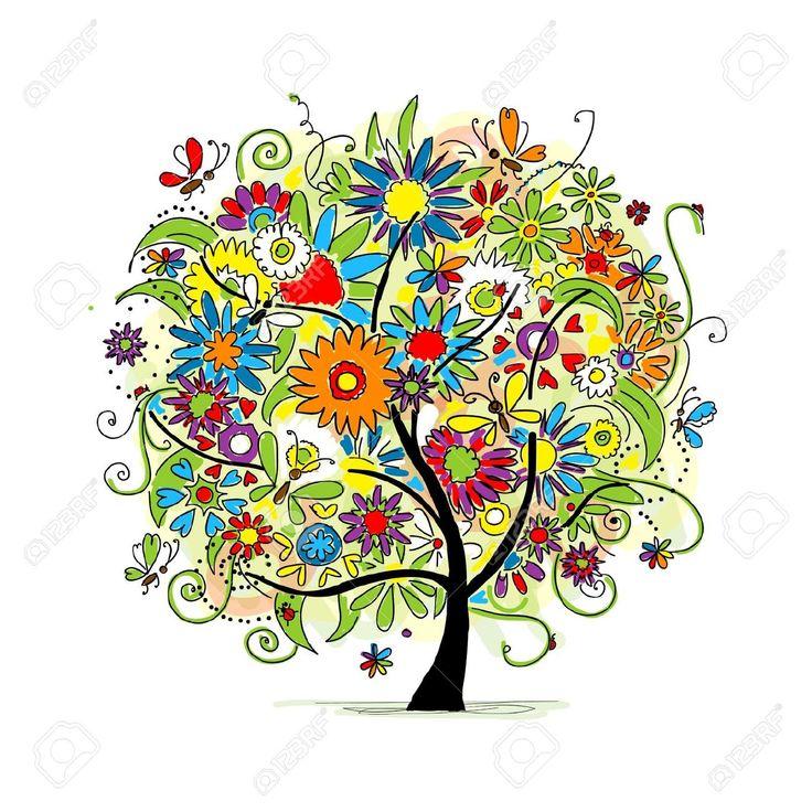 Эскиз цветочных деревьев для вашего дизайна Клипарты, векторы, и Набор  Иллюстраций Без Оплаты Отчислений