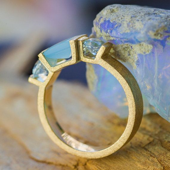 Natural 1CT Square Cut Chalcedony and Aquamarine Gold Ring, Ring with Aquamarine, Fashion Ring, 14K Yellow Gold Ring, Handmade Jewelry