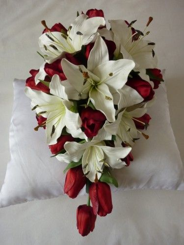 tiger lily bridal bouquets | Kassandra - Tiger & Tulip Teardrop artificial wedding bouquet
