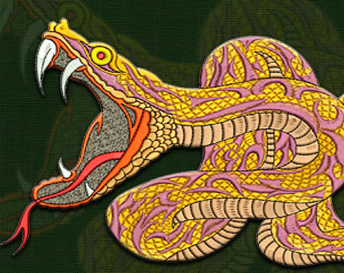 Attacking python embroidery design – 3 sizes & 10 formats