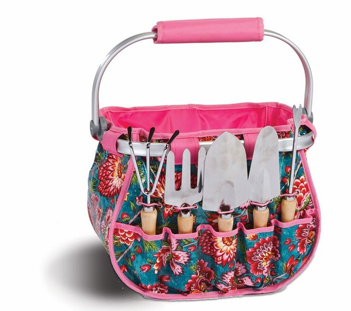 Blossom Garden Tote by Picnic Plus is a lightweight framed collapsible basket.   Easy wipe clean laminated exterior, large center storage for plants and supplies, sturdy aluminum frame with a padded carry handle folds flat for storage, convenient elastic corded, exterior tool pockets hold the 5 included hand tools shown.