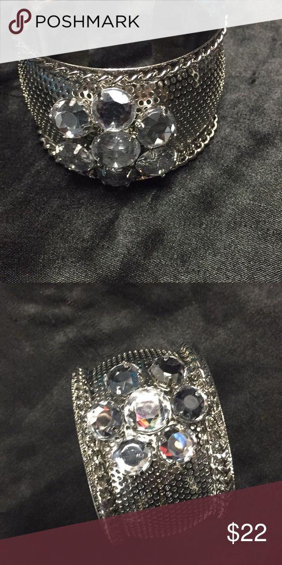Silver rhinestone cuff bracelet Silver rhinestone cuff bracelet Betsey Johnson Jewelry Bracelets