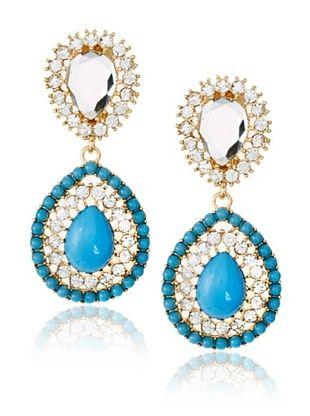 Kenneth Jay Lane Blue Crystal Teardrop Clip Earrings