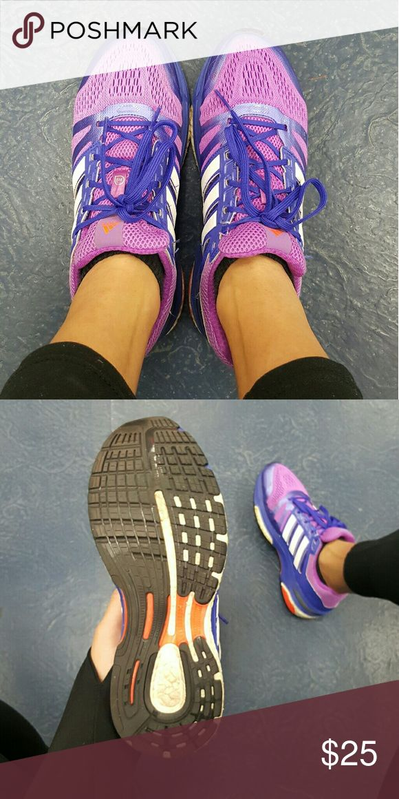 Adidas Sequence Boost Purple with pink adidas sequence Boost running shoes. Extremely comfortable and light. Stableframe with continental bottoms. Adidas Shoes Athletic Shoes
