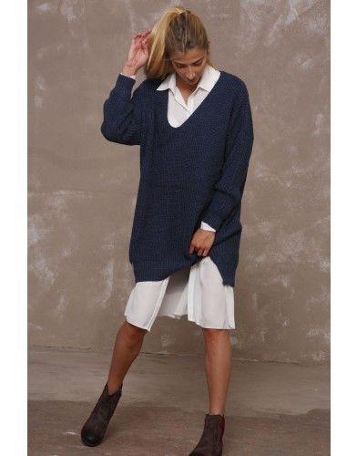Oversizowy sweter z domieszką wełny - jeans malanż