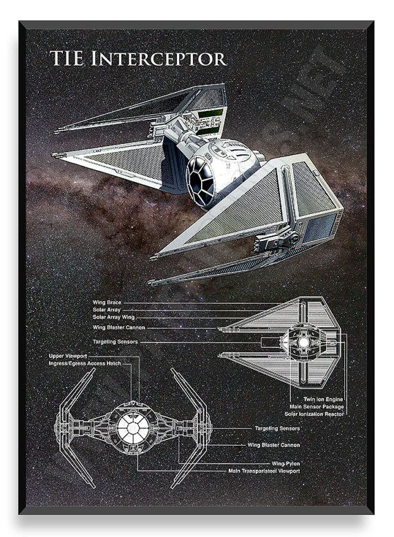 TIE Interceptor Poster Star Wars Ship Star by PatentPrintsPosters