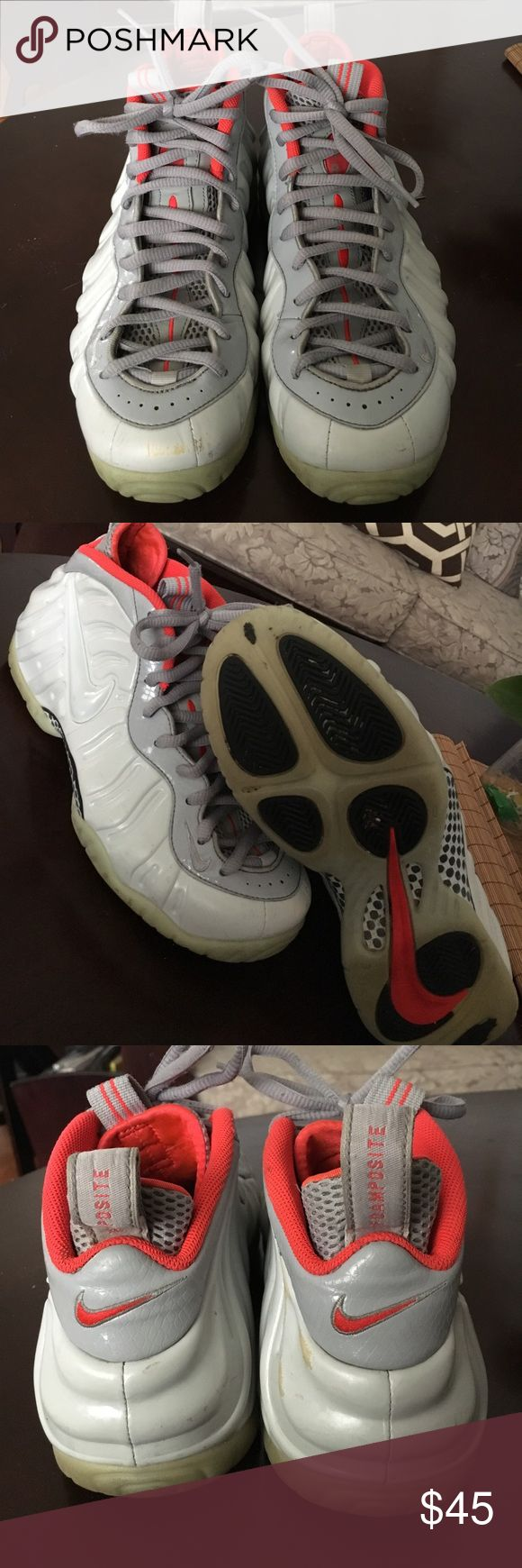 Nike Platinum Yeezy Foamposite Nike Platinum Yeezy Foamposite (soles glow in dark) . Size 8.5. Condition 7.5/10. No box and Scuffs on right shoe. Nike Shoes Sneakers