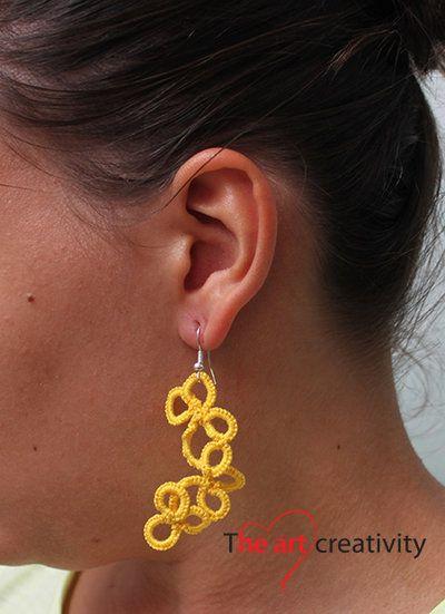 Orecchini a chiaccherino gialli con fiori. #orecchini #chiaccherino #giallo #filo #cotone #flower
