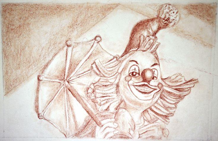 Ejercicios para libro de dibujo /Sanguina sobre papel por Jessica Millan G