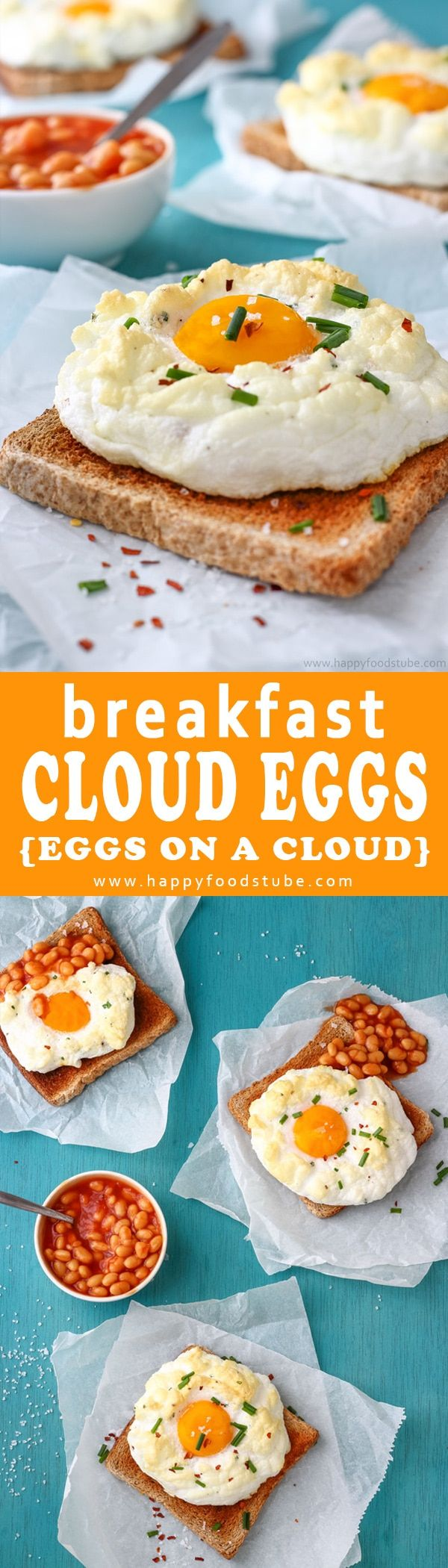 Easy Cloud Eggs Recipe also called Eggs on a Cloud. Its a fun way to make eggs for breakfast. How to make a cloud eggs? Here is super simple recipe and quick step by step video. Imagine fluffy whites, runny yolks and texture light as clouds. That's what eggs on a cloud are all about :) via @happyfoodstube