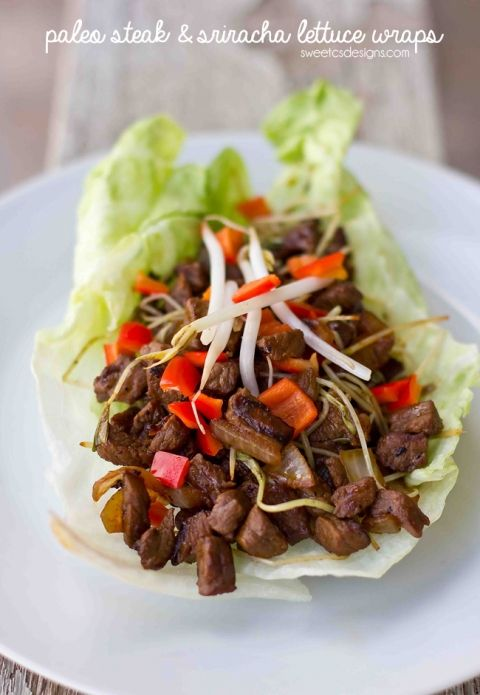 paleo steak and sriracha lettuce wraps- takes less than 8 minutes to make and so delicious!