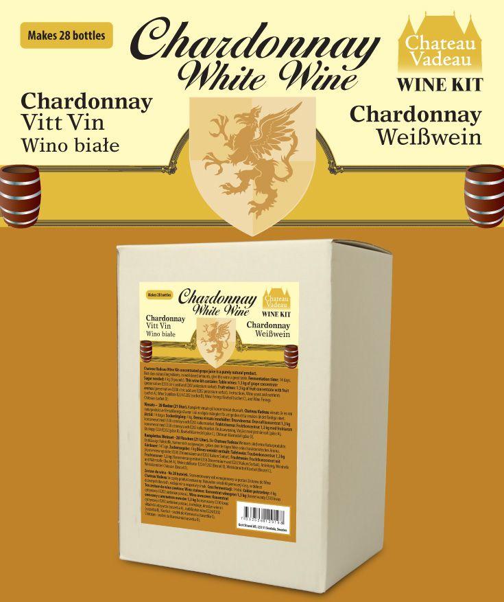 Chateau Vadeau Chardonnay – Vitt vin vinsats Ger 21 liter - 28 flaskor a 75 cl - lättdrucket bordvin. Tillsätt vatten och 4 kg socker. Alla andra ingredienser medföljer.