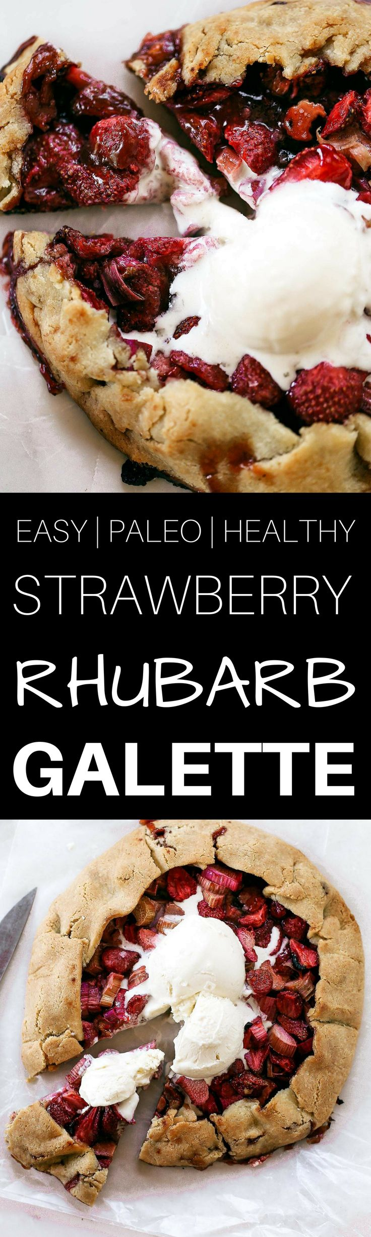 "Incredibly easy grain free & paleo strawberry rhubarb galette. A healthy and simple summer treat made with whole food ingredients. Naturally gluten free and dairy free. Sweetened without refined sugar. That sugary gooey fruit filling is to die for! Especially paired with a light and ""buttery"" almond flour crust. Gluten free galette. Paleo fruit galette. best paleo strawberry galette. easy healthy galette recipe. paleo galette recipe. easy gluten free summer desserts. grain free pie crust…"