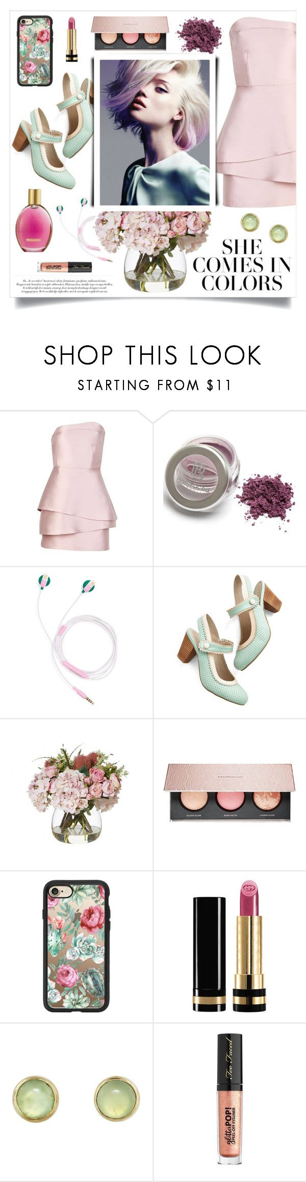"""""""Pastel love"""" by linmari ❤ liked on Polyvore featuring Mestiza, ban.do, Chelsea Crew, Missoni, Bare Escentuals, Casetify, Gucci, Melissa Joy Manning and Too Faced Cosmetics"""