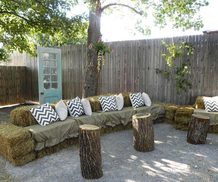 hay bale seating  dads