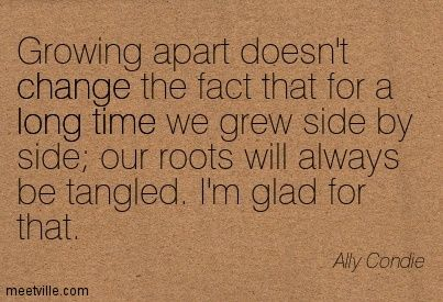 Growing apart doesn't change the fact that for a long time we grew side by side our roots will always be tangled. I'm glad for that. Ally Condie