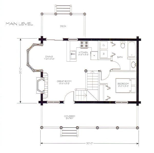 Small cabin floor plans with loft 900 square feet it for Small open floor plans with loft